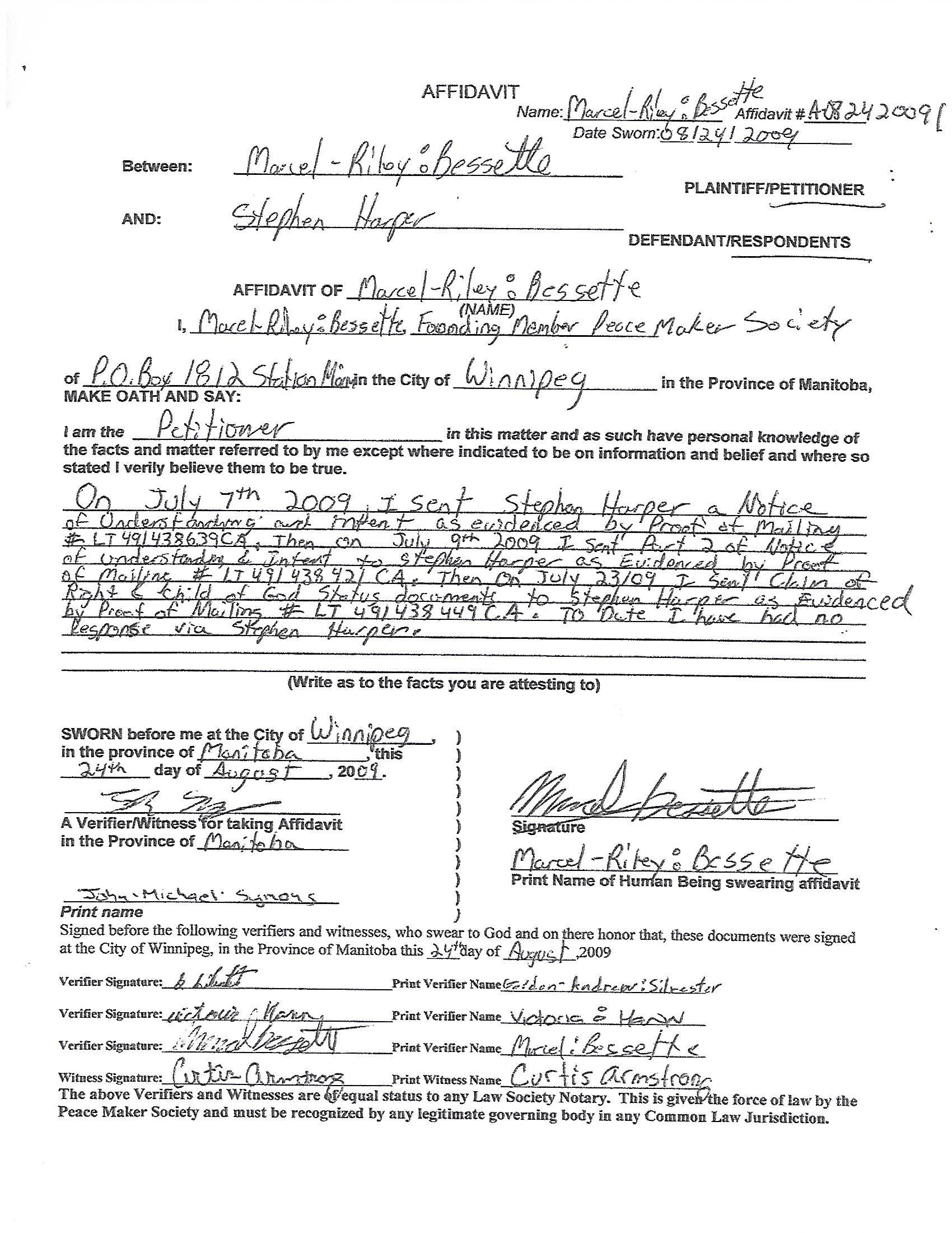 Affidavitt Of Service