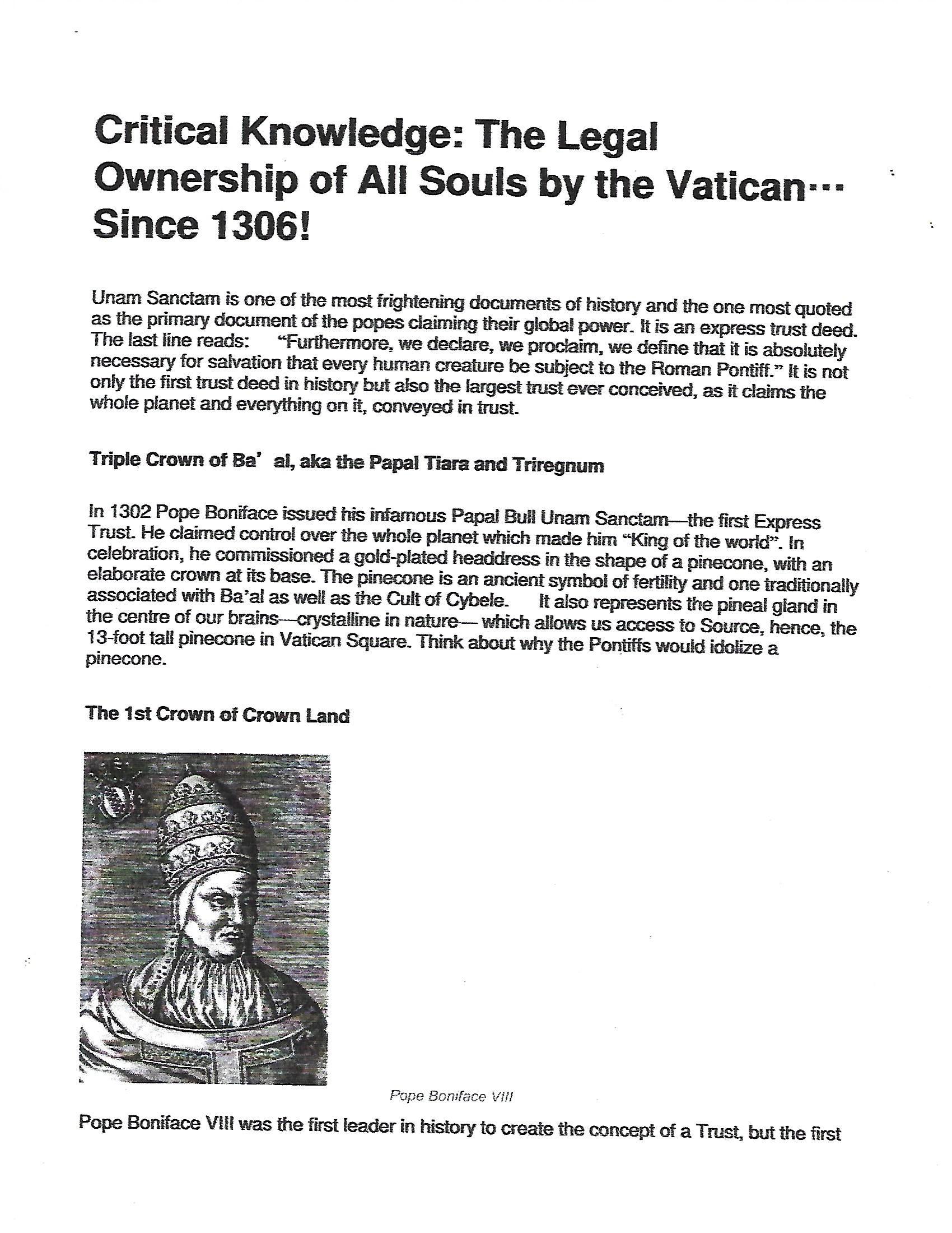 Vatican Owns Birth Certificate Slave Bon