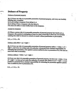 Defense Of Property With Claim Of Right.