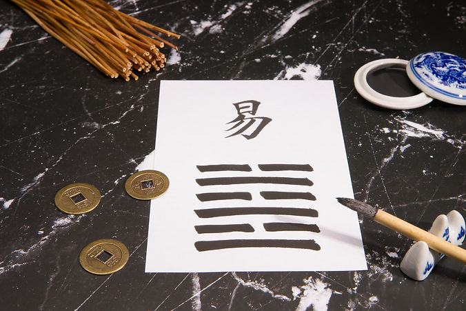Close up of an I Ching-means Book of Cha