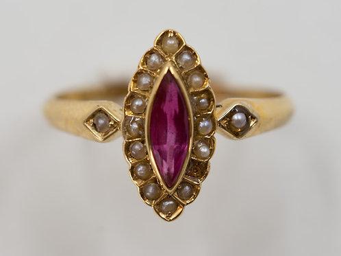 Rubin Perlen Damen Ring