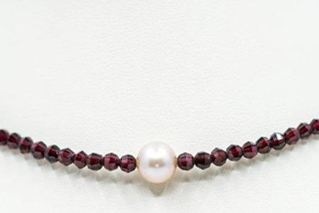 Granat Süßwasser Perlen Collier
