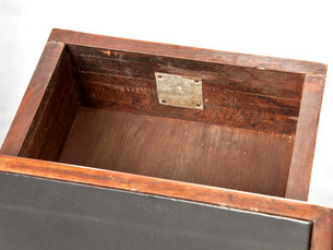 Office table, 1957–1958 [drawer's interior with brand]