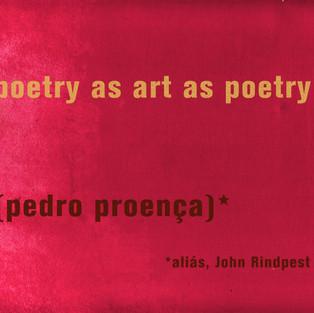 Poetry as art as poetry