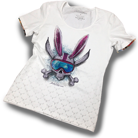 TATTOOSHIRT SKI SKULL BUNNY S/S LADIES