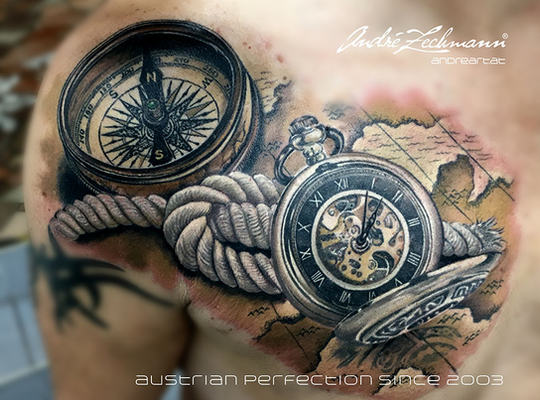 uhr kompass seil_tattoo_by_andre_zechman