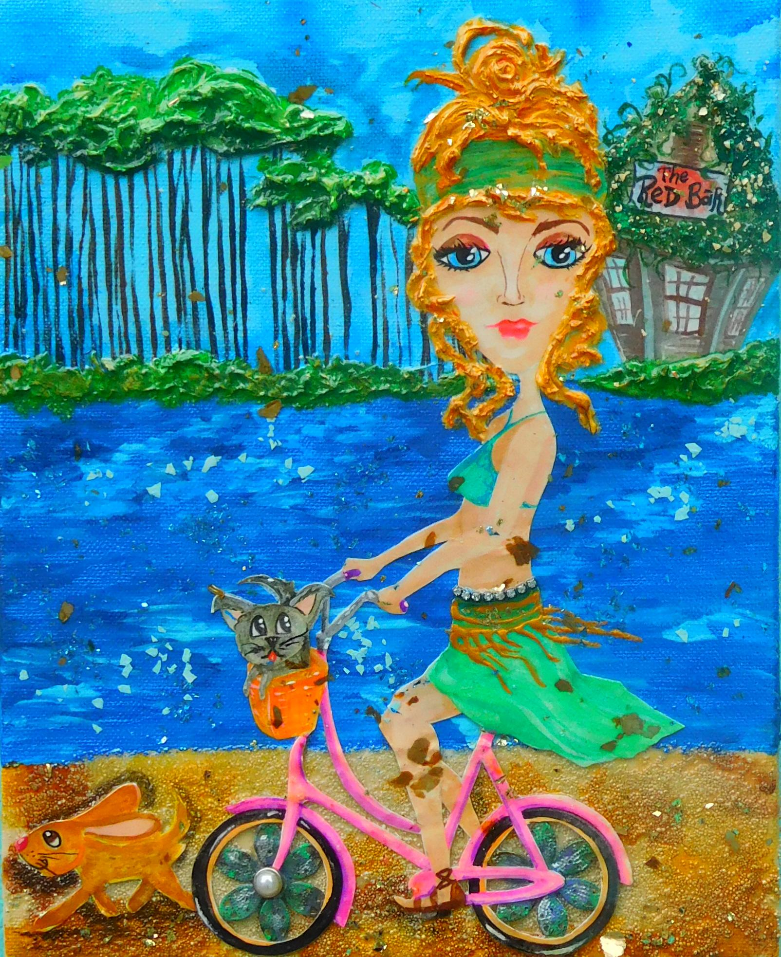 Biking Grayton Beach  10X20  SOLD