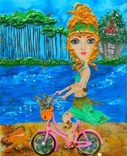 Biking Grayton Beach  10X20  SOLD