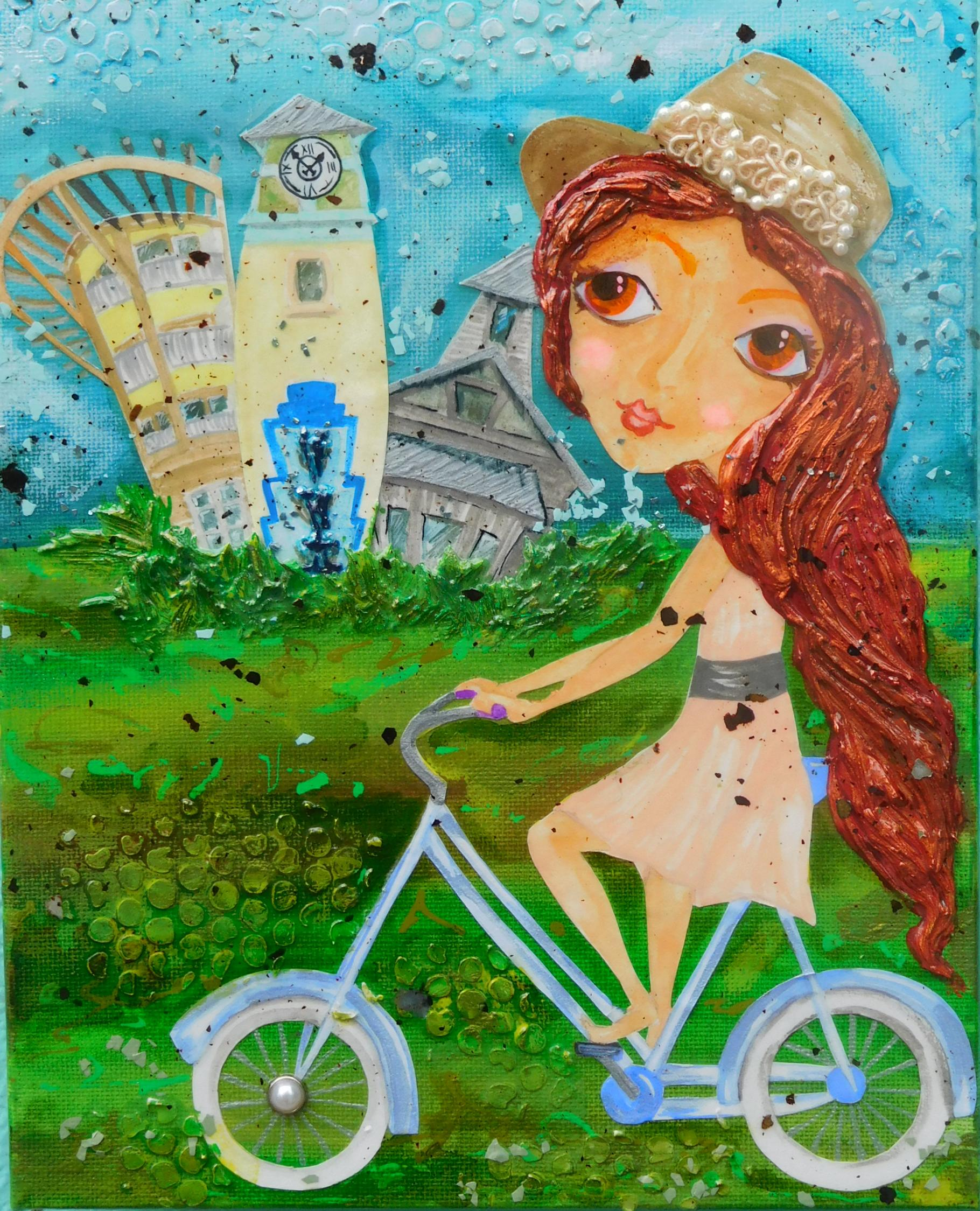 Biking Watercolor, SOLD