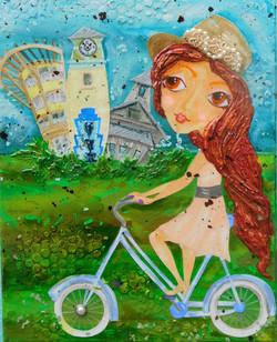 Biking Watercolor, SOLD