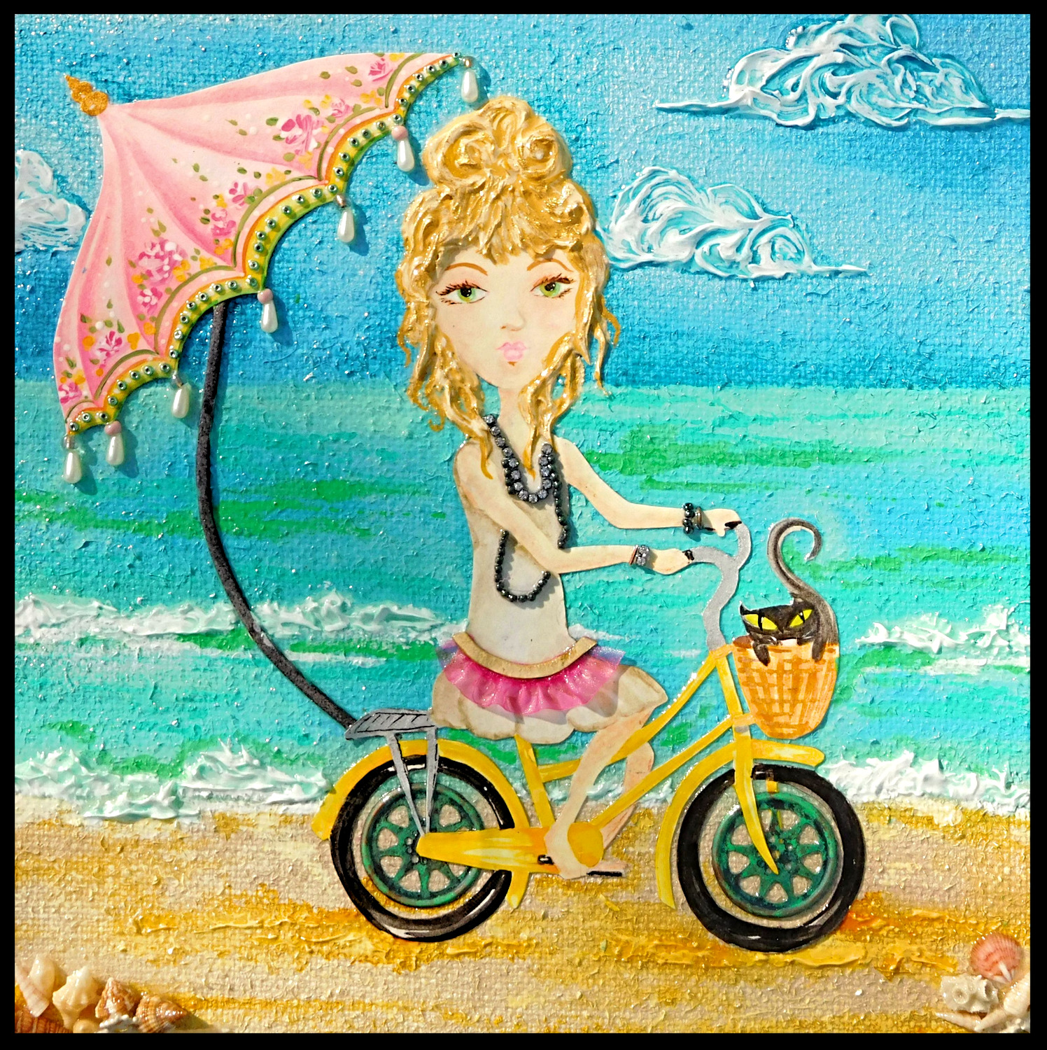 Boho Beach Girl 10X10 SOLD