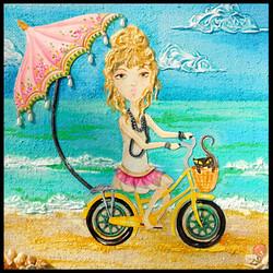 Boho Beach Girl 10X10 SOLD