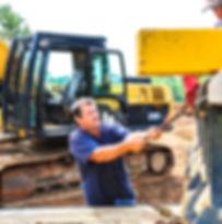 Working, excavator, chain pulling