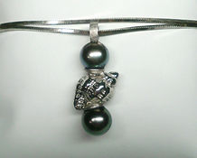 Pendentif Ag 925 et perles de Tahiti