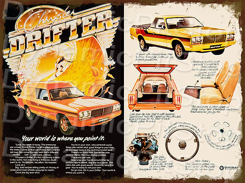 40x30cm Chrysler Drifter Brochure Rustic Decal or Tin Sign