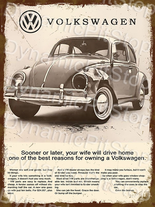 30x40cm Volkswagen VW Beetle Vintage Ad Rustic Decal or Tin Sign