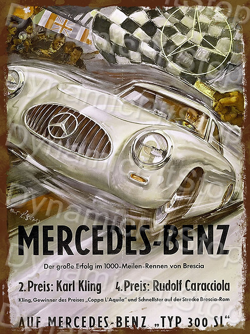 30x40cm Mercedes Benz Karl Kling Rustic Decal or Tin Sign