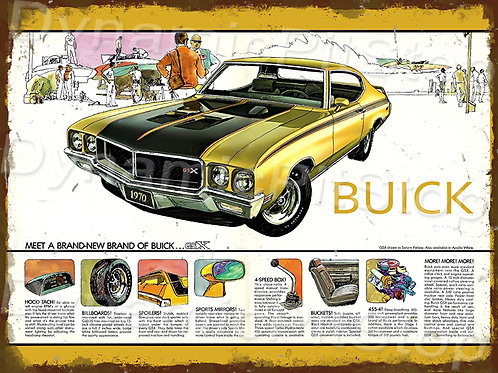 40x30cm Buick 1970 Rustic Decal or Tin Sign