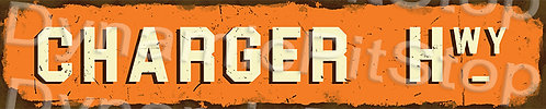 60x12cm Charger Hwy Rustic Tin Street Sign