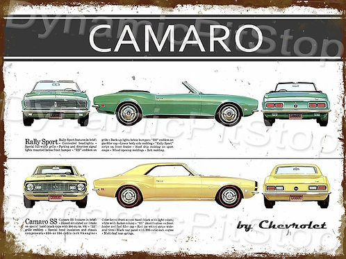 40x30cm SS Camaro 1968 RS Rustic Decal or Tin Sign