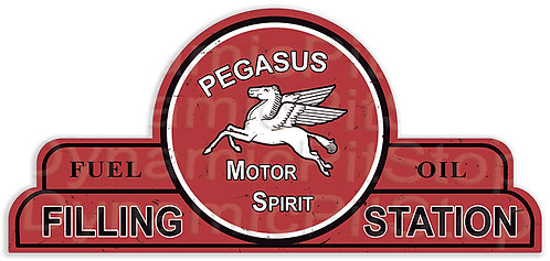 65x30cm Mobil Pegasus Filling Station Shield Tin Sign