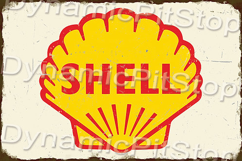 60x40cm Shell Logo Rustic Decal or Tin Sign