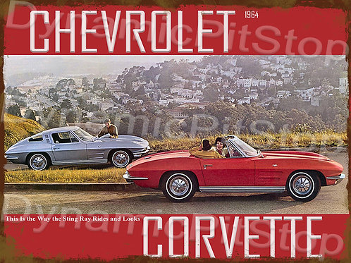 40x30cm Corvette 1964 Rustic Decal or Tin Sign