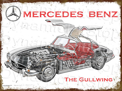 40x30cm Mercedes Benz Gull Wing Rustic Decal or Tin Sign