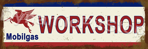 60x20cm Mobilgas Workshop Rustic Decal or Tin Sign