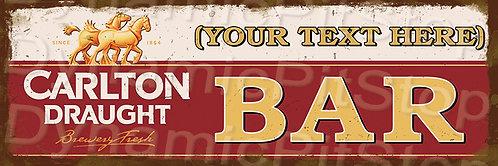 60x20cm Carlton Draught Bar Personalised / Custom Decal or Tin Sign