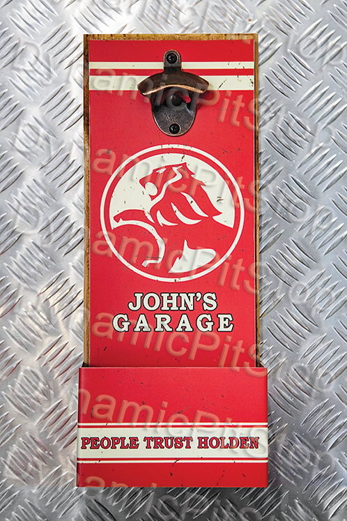 40cm x 15cm Personalised Holden Rustic Wall Bottle Opener & Catcher