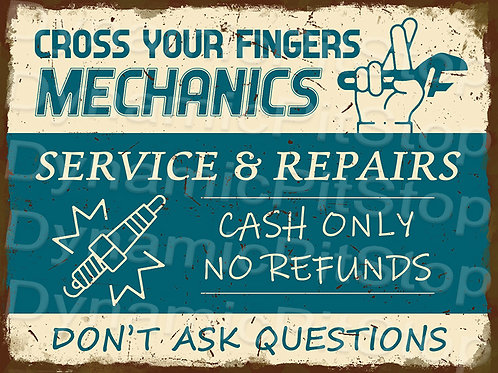40x30cm Cross Fingers Mechanic Rustic Decal or Tin Sign