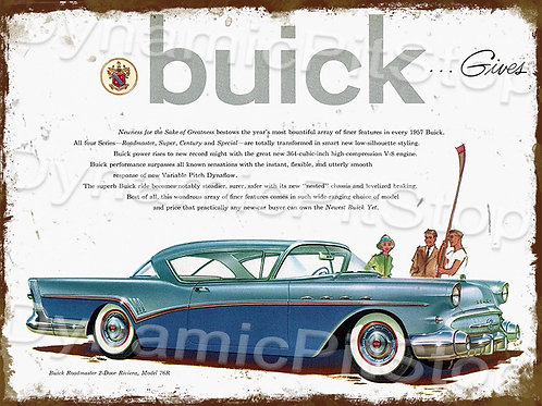 40x30cm Buick 1957 Rustic Decal or Tin Sign