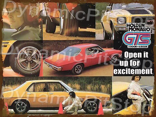 40x30cm Holden Monaro GTS Open It Up Rustic Decal or Tin Sign