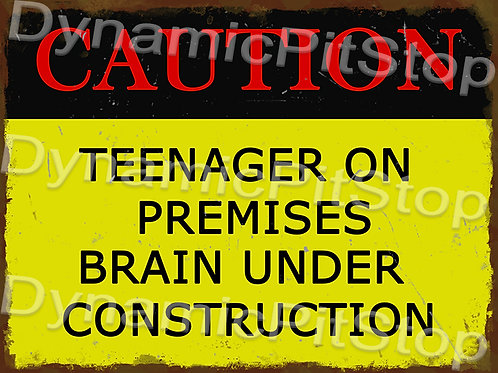 40x30cm Brain Under Construction Teenager Rustic Decal or Tin Sign