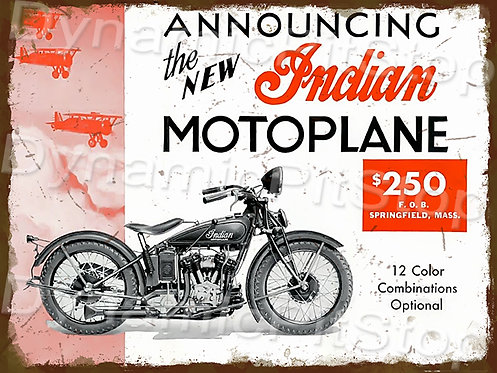 40x30cm Indian Motoplane Rustic Decal or Tin Sign
