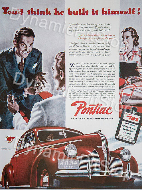30x40cm Pontiac Vintage Ad Decal or Tin Sign