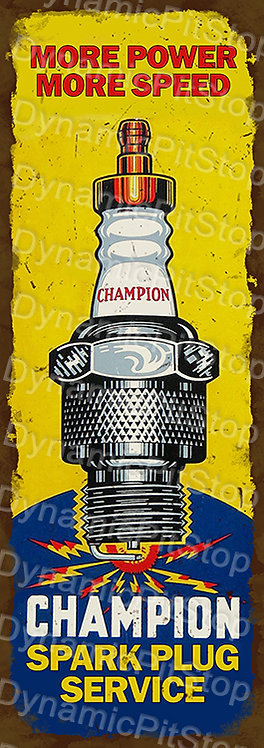 Large 99x35cm Champion Spark Plugs Rustic Decal or Sign