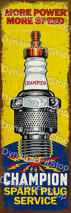 20x60cm Champion Spark Plugs Rustic Decal or Tin Sign