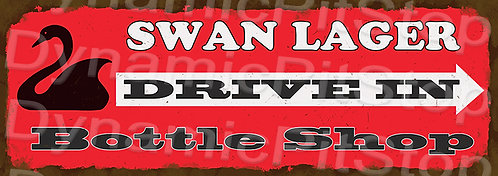Large 99x35cm Swan Lager Drive In Rustic Decal or Sign