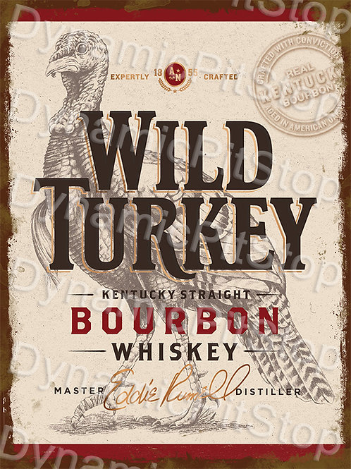 30x40cm Wild Turkey Bourbon Whiskey Rustic Decal or Tin Sign