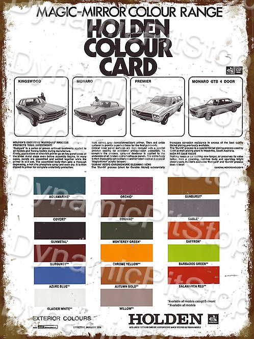 30x40cm Holden HQ Colour Chart Rustic Decal or Tin Sign