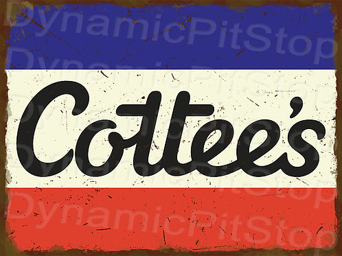 40x30cm Cottees Logo Rustic Decal or Tin Sign