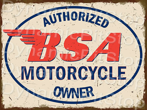 40x30cm BSA Motorcycle Rustic Decal or Tin Sign