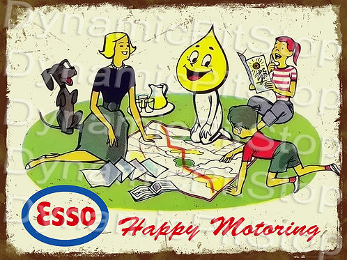 40x30cm Esso Happy Motoring Rustic Decal or Tin Sign