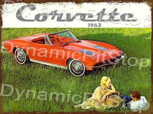 40x30cm Corvette 1963 Rustic Decal or Tin Sign