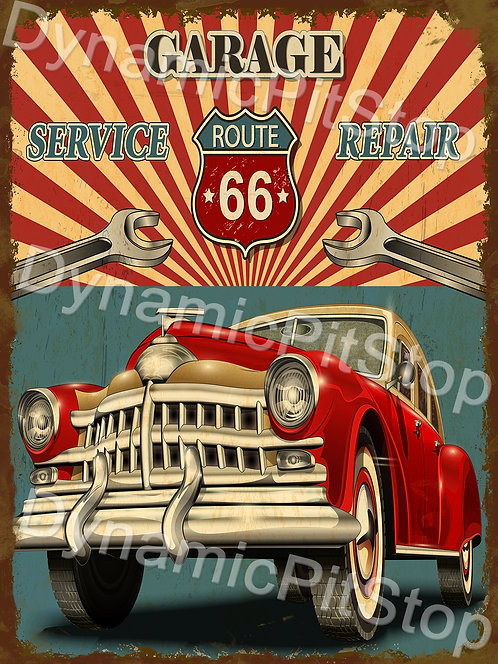 30x40cm Route 66 Garage Rustic Decal or Tin Sign