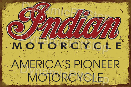 60x40cm Indian Motorcycle Rustic Decal or Tin Sign