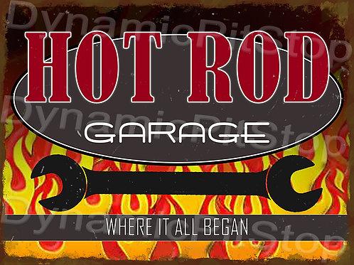 40x30cm Hot Rod Garage Rustic Decal or Tin Sign