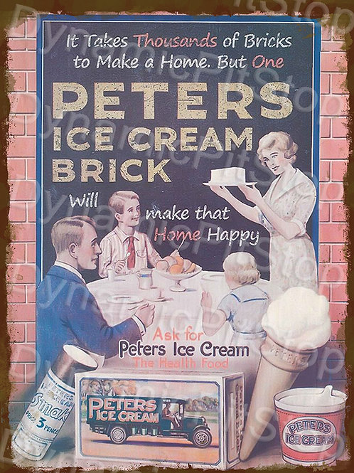 30x40cm Peters Ice Cream Rustic Decal or Tin Sign
